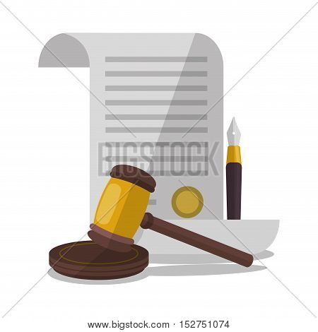 Document and hammer icon. Law justice legal and judgment theme. Colorful design. Vector illustration
