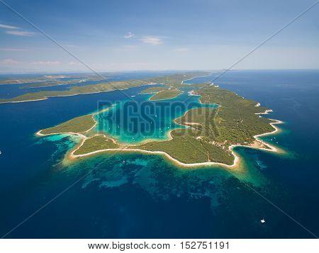 Aerial view of Veli Rat on the Adriatic island Dugi Otok, Croatia