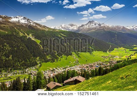 View To Davos City And Swiss Alps Fron The Top Of The Schatzalp Mountain, Grison, Switzerland