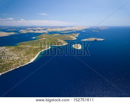 aerial view of the National park Kornati, Kornati archipelago, Adriatic sea in Croatia