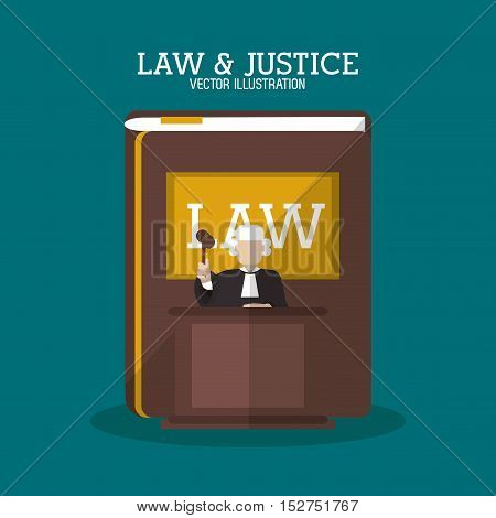 Book and judge icon. Law justice legal and judgment theme. Colorful design. Vector illustration
