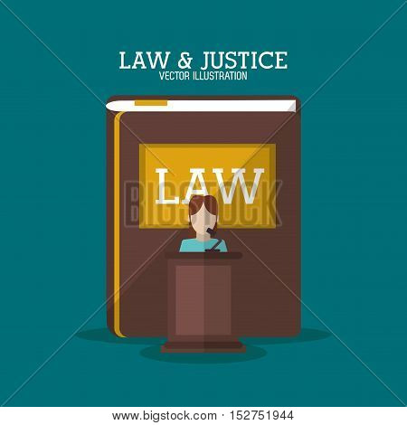 Book and witness icon. Law justice legal and judgment theme. Colorful design. Vector illustration