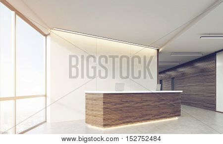 Side View Of Wooden Sunlit Reception Counter