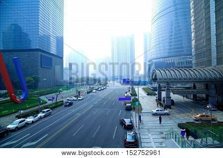 The Street Scene Of Modern Urban Architecture Backgrounds In Shanghai