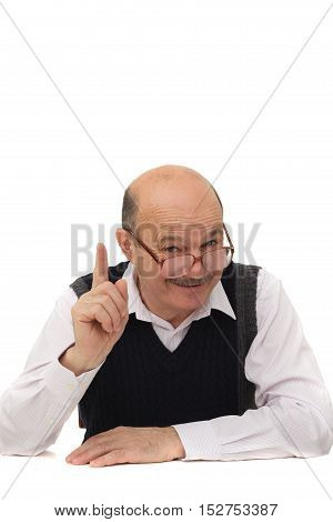 elderly man in formal attire gives instruction about life.