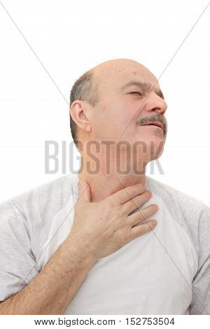 Respiratory disease in older age. Man has sore throat infection and colds.