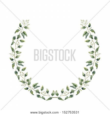 Watercolor floral wreath with eucalyptus leaves. Hand painted floral wreath with branches, leaves of eucalyptus isolated on white background. For design or background.