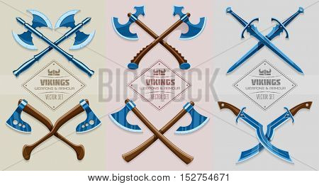 Medieval weapon of ancient Scandinavian vikings. Axe. Hache and sword. Iron armor vector illustration set