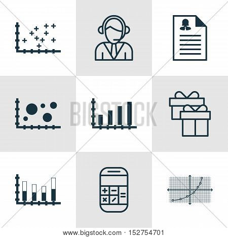 Set Of 9 Universal Editable Icons For Statistics, Human Resources And Airport Topics. Includes Icons