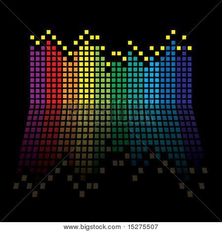 Rainbow music graphic equaliser with reflection in black background