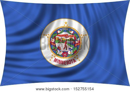 Flag of the US state of Minnesota. American patriotic element. USA banner. United States of America symbol. Minnesotan official flag waving isolated on white 3d illustration