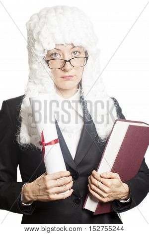 Female judge wearing a wig with eyeglasses holding brief and book isolated on white