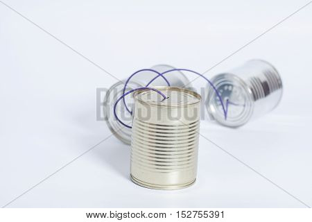 tin can phone isolated on white.communication concept