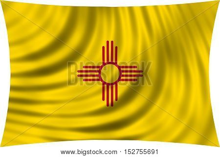 Flag of the US state of New Mexico. American patriotic element. USA banner. United States of America symbol. New Mexican official flag waving isolated on white 3d illustration