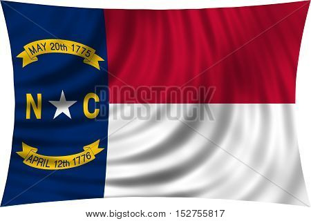 Flag of the US state of North Carolina. American patriotic element. USA banner. United States of America symbol. North Carolinian official flag waving isolated on white 3d illustration