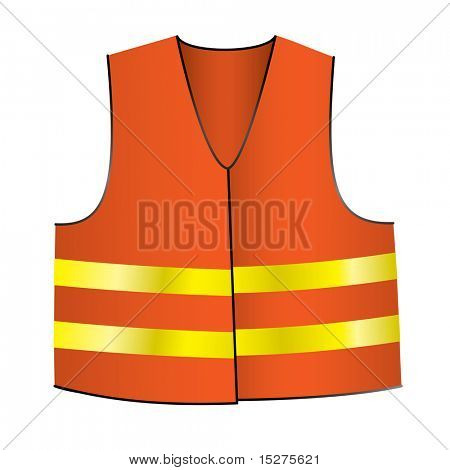 illustrated Orange safety jacket with yellow shiny stripes