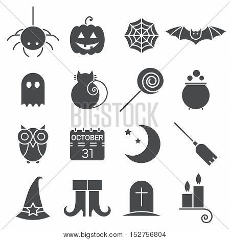 Halloween flat icons set. Holiday pictogram collection of spider, cat and bat, web, ghost and pumpkin, candy and potion, owl, calendar, moon and broom, boots, hat, candle and tomb. Vector illustration