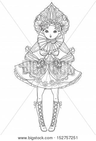 Vector cute fairy gothic lolita girl in nice dress. Vector line illustration. Sketch for postcard or print or coloring adult book. Boho style.