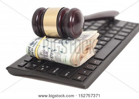 Indian Currency Rupee Notes and Law Gavel on computer keyboard isolated on white