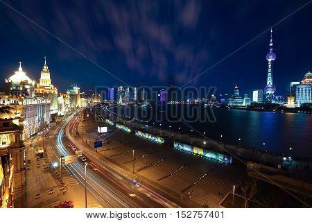 Bird View At Shanghai Bund European-style Buildings Of Night
