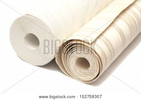 Roll of vinyl wallpapers on white background