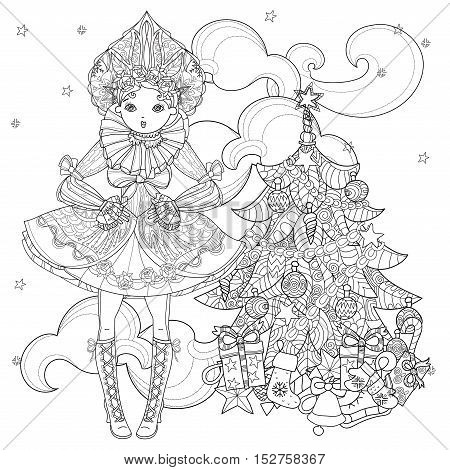 Vector cute fairy gothic lolita girl in nice dress near christmas fir tree and gifts. Vector line illustration. Sketch for postcard or print or coloring adult book Boho style.