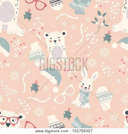 Seamless Merry Christmas patterns with cute polar animals bears rabbits vector illustration
