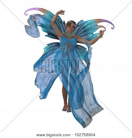 Fairy Saida on White 3D Illustration - A fairy is a creature of folklore and legend and has pointed long ears is small in stature and has wings.