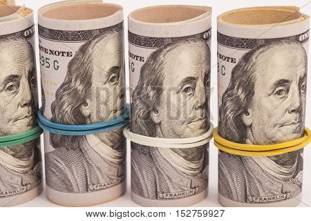 Dollar US banknotes one hundred roll money
