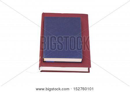 Blank hardcover books isolated on white background