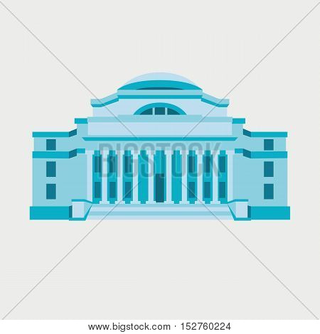 Classical university building made in line silhouette vector