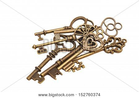 Vintage keys isolated on a white background