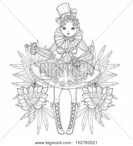 Vector cute fairy gothic lolita girl in nice dress with flowers.Vector line illustration.Sketch for postcard or print or coloring adult book.Boho style.