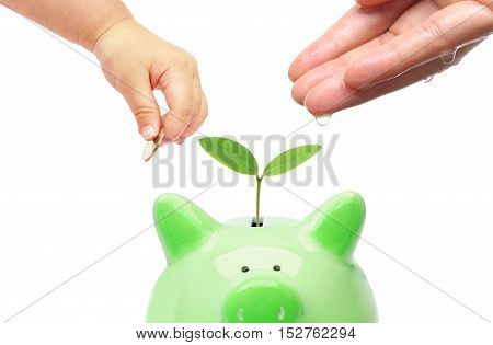 Adult and baby doing green saving / Sustainable business / Teaching young generation business ethics