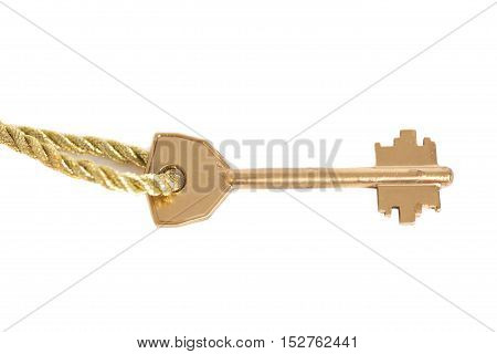 Golden key hanging on gold chain isolated over white
