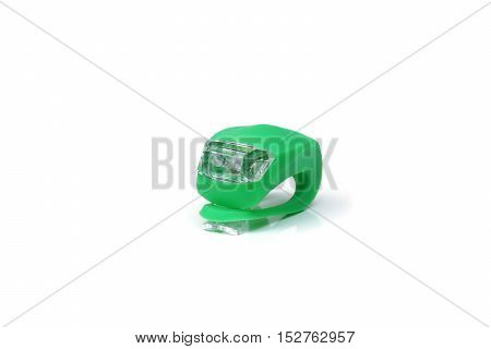 Bicycle rear red light reflector in green color