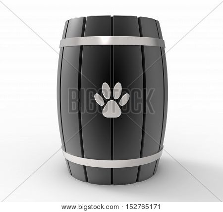 Black Cremation urn for pets 3d rendering isolated on white