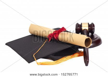 Black Graduation Hat with Diploma and Gavel Isolated on White Background