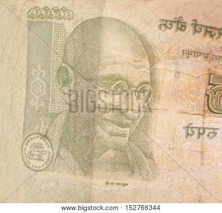 Indian Currency Rupee Notes Money Close Up