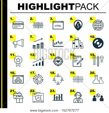 Set Of 25 Universal Editable Icons For Project Management, Management And Statistics Topics. Include