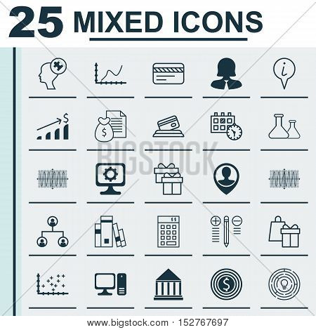Set Of 25 Universal Editable Icons For Hr, Education And School Topics. Includes Icons Such As Pc, I