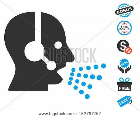 Operator Speech icon with free bonus icon set. Vector illustration style is flat iconic symbols, blue and gray colors, white background.