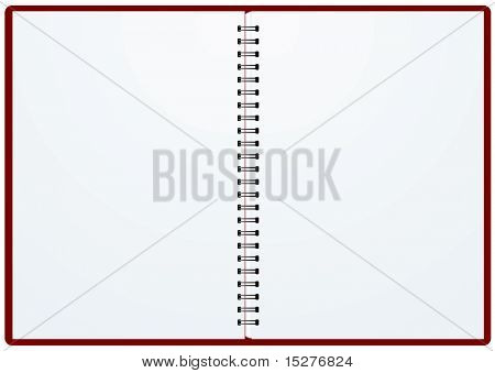 Blank white paper in a binder with metal ring binding