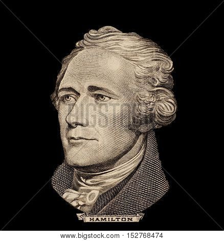 Portrait of U.S. great president Alexander Hamilton poster