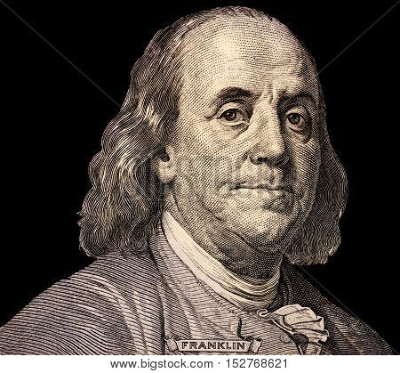Portrait of U.S. president Benjamin Franklin 100 US dollar