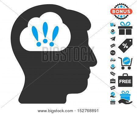 Problem Brainstorm pictograph with free bonus pictures. Vector illustration style is flat iconic symbols, blue and gray colors, white background.