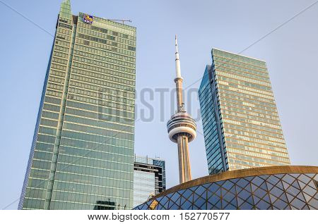 Toronto, Canada - July 22, 2014: RBC Royal Bank of Canada skyscrapers with CN tower in downtown