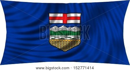Albertan provincial official flag symbol. Canada banner and background. Canadian AB patriotic element. Flag of the Canadian province of Alberta waving isolated on white 3d illustration