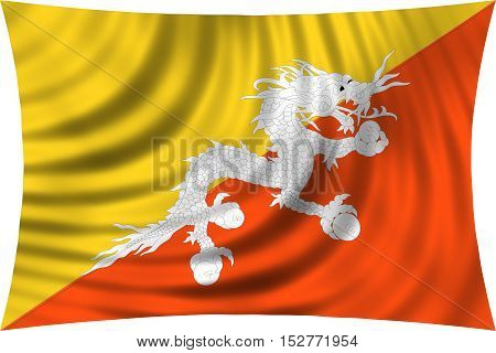 Bhutanese national official flag. Patriotic symbol banner element background. Correct colors. Flag of Bhutan waving isolated on white 3d illustration