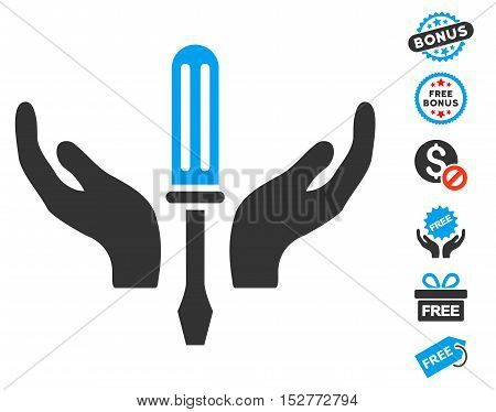 Tuning Screwdriver Maintenance icon with free bonus images. Vector illustration style is flat iconic symbols, blue and gray colors, white background.